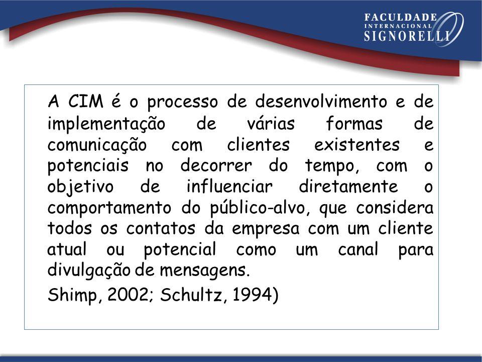 A CIM é o processo de desenvolvimento e de implementação de várias formas de comunicação com clientes existentes e potenciais no decorrer do tempo, co