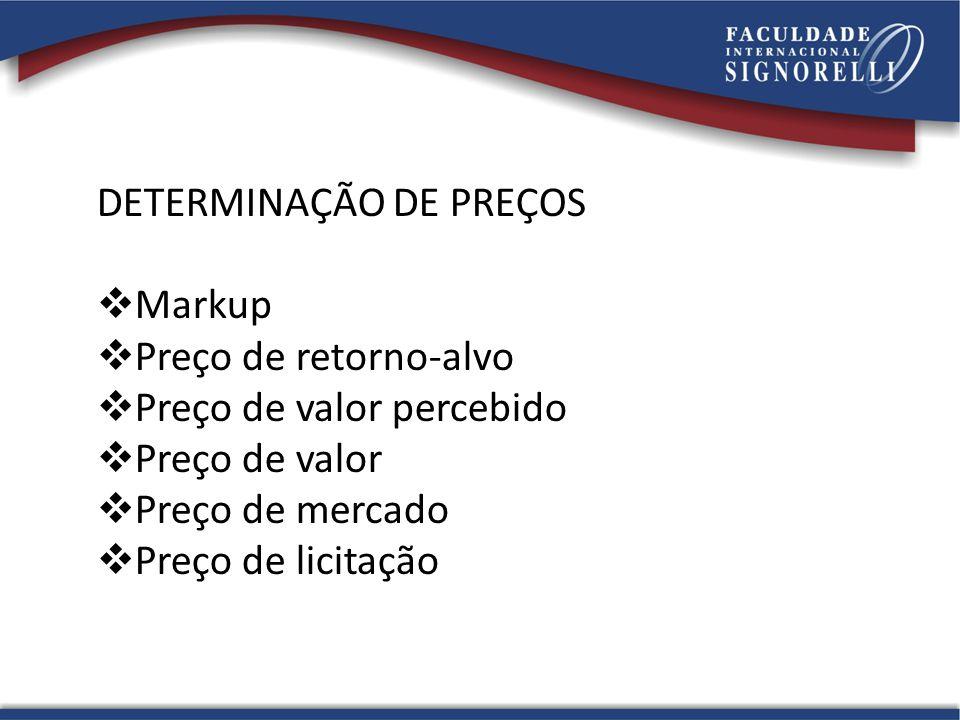 DETERMINAÇÃO DE PREÇOS  Markup  Preço de retorno-alvo  Preço de valor percebido  Preço de valor  Preço de mercado  Preço de licitação