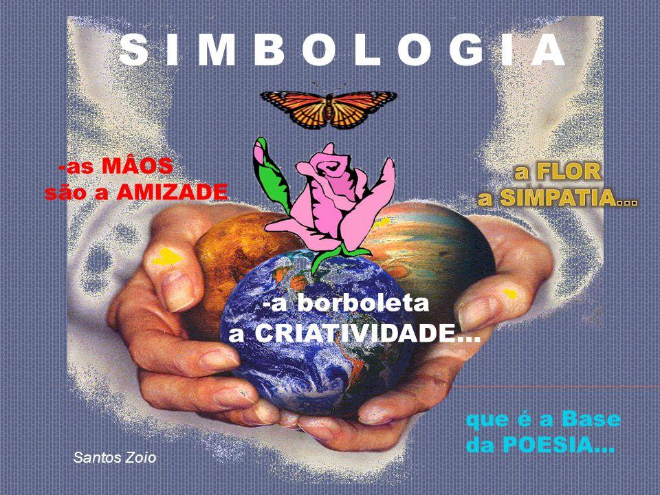 S I M B O L O G I A -as MÂOS são a AMIZADE -a borboleta a CRIATIVIDADE… que é a Base da POESIA… Santos Zoio