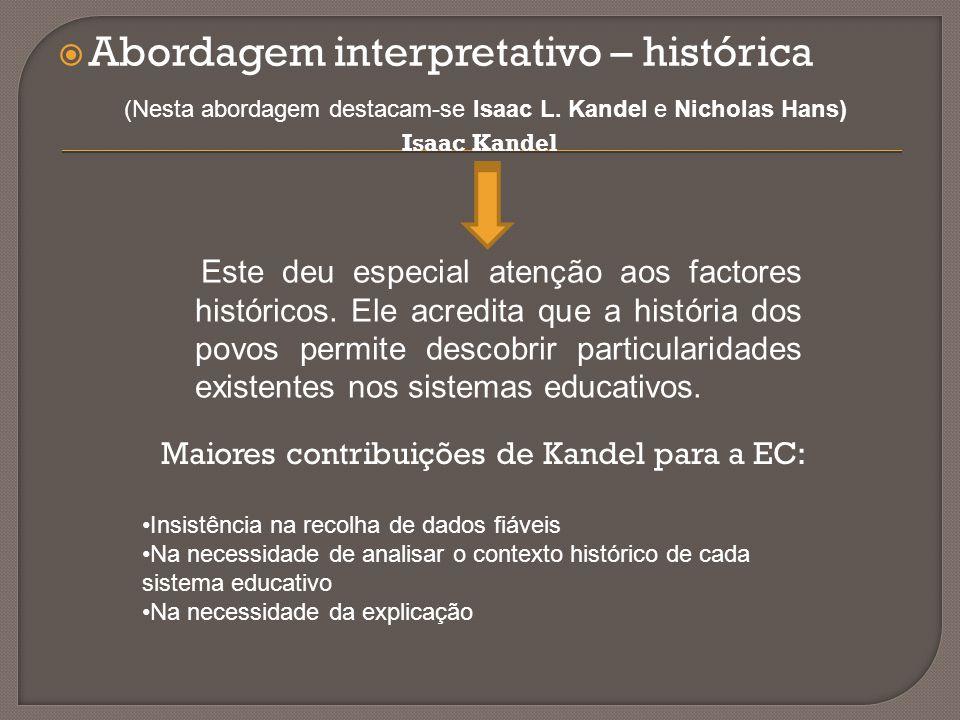  Abordagem interpretativo – histórica (Nesta abordagem destacam-se Isaac L. Kandel e Nicholas Hans) Isaac Kandel Este deu especial atenção aos factor