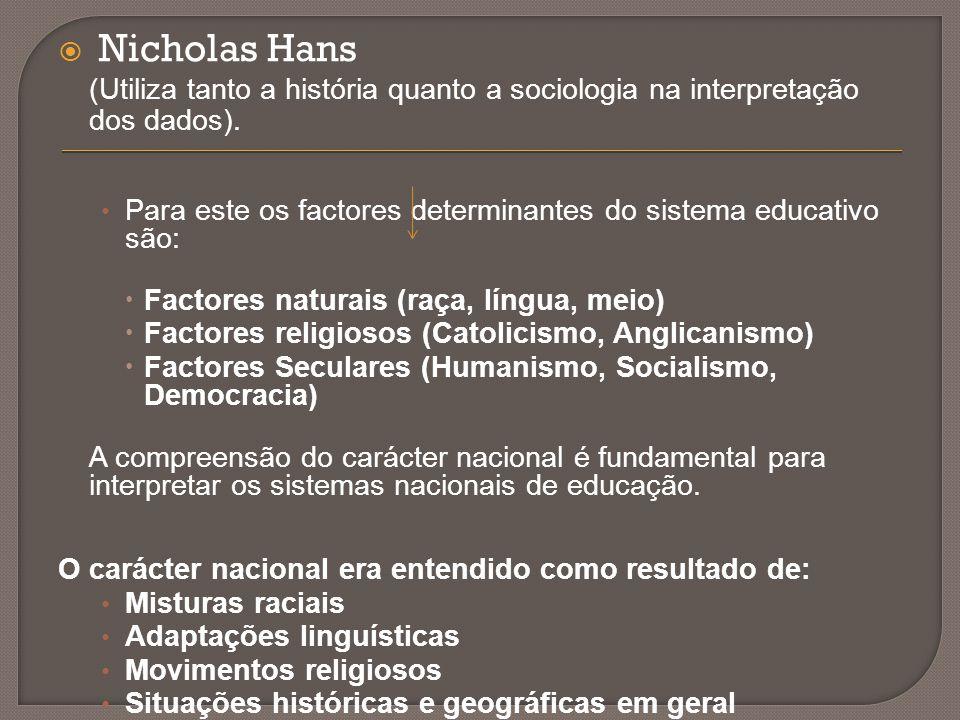  Nicholas Hans (Utiliza tanto a história quanto a sociologia na interpretação dos dados). Para este os factores determinantes do sistema educativo sã