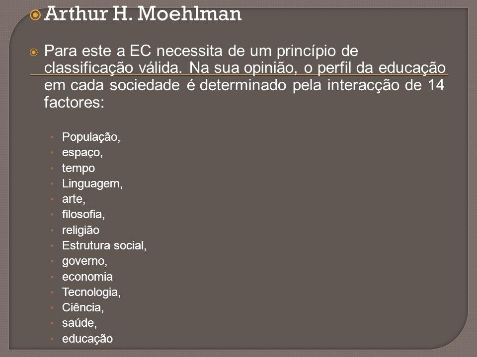  Arthur H. Moehlman  Para este a EC necessita de um princípio de classificação válida. Na sua opinião, o perfil da educação em cada sociedade é dete