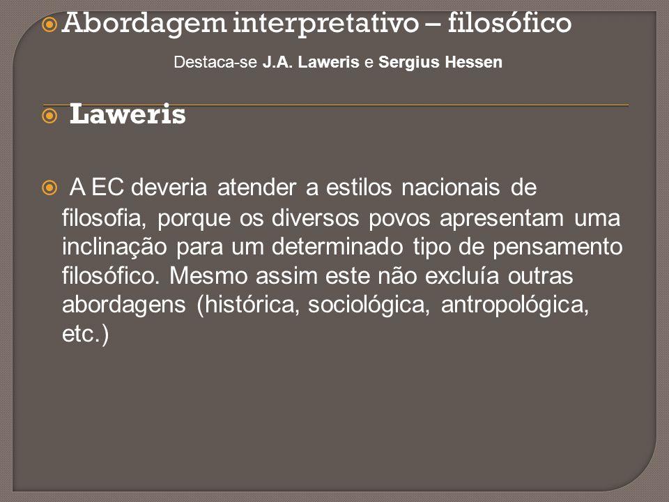  Abordagem interpretativo – filosófico Destaca-se J.A. Laweris e Sergius Hessen  Laweris  A EC deveria atender a estilos nacionais de filosofia, po