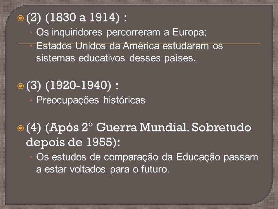  (2) (1830 a 1914) : Os inquiridores percorreram a Europa; Estados Unidos da América estudaram os sistemas educativos desses países.  (3) (1920-1940