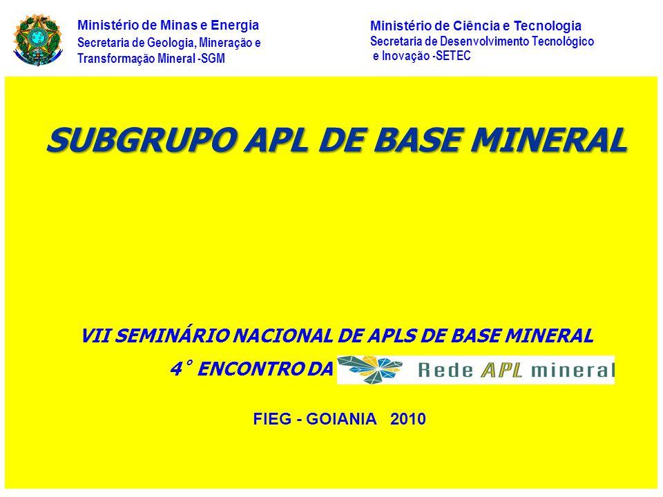 FIEG - GOIANIA 2010 Secretaria de Geologia, Mineração e Transformação Mineral -SGM Ministério de Minas e Energia Ministério de Ciência e Tecnologia Se