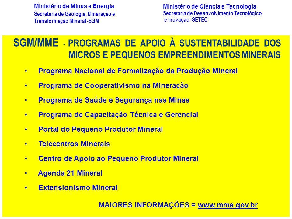SGM/MME - PROGRAMAS DE APOIO À SUSTENTABILIDADE DOS MICROS E PEQUENOS EMPREENDIMENTOS MINERAIS Programa Nacional de Formalização da Produção Mineral P