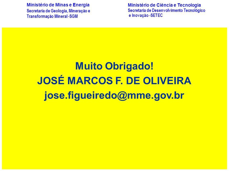 Muito Obrigado! JOSÉ MARCOS F. DE OLIVEIRA jose.figueiredo@mme.gov.br Secretaria de Geologia, Mineração e Transformação Mineral -SGM Ministério de Min