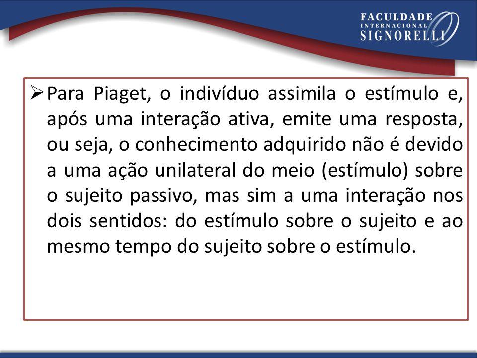  Para Piaget, o indivíduo assimila o estímulo e, após uma interação ativa, emite uma resposta, ou seja, o conhecimento adquirido não é devido a uma a