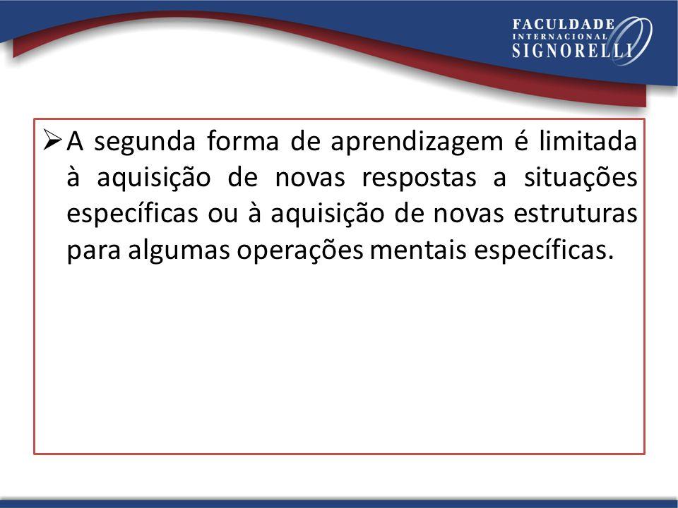  A segunda forma de aprendizagem é limitada à aquisição de novas respostas a situações específicas ou à aquisição de novas estruturas para algumas op