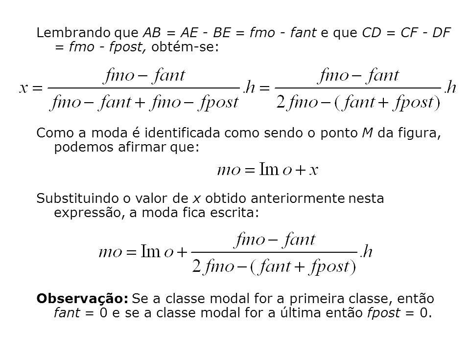 Lembrando que AB = AE - BE = fmo - fant e que CD = CF - DF = fmo - fpost, obtém-se: Como a moda é identificada como sendo o ponto M da figura, podemos afirmar que: Substituindo o valor de x obtido anteriormente nesta expressão, a moda fica escrita: Observação: Se a classe modal for a primeira classe, então fant = 0 e se a classe modal for a última então fpost = 0.