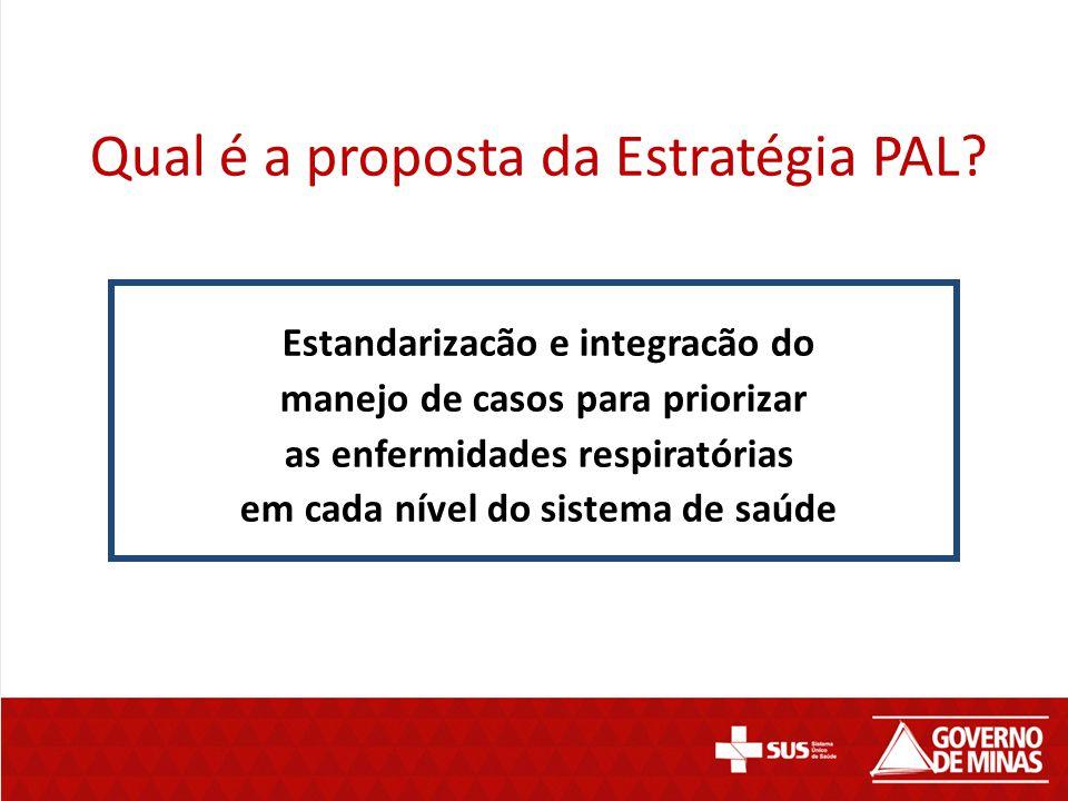 Qual é a proposta da Estratégia PAL? Estandarizacão e integracão do manejo de casos para priorizar as enfermidades respiratórias em cada nível do sist