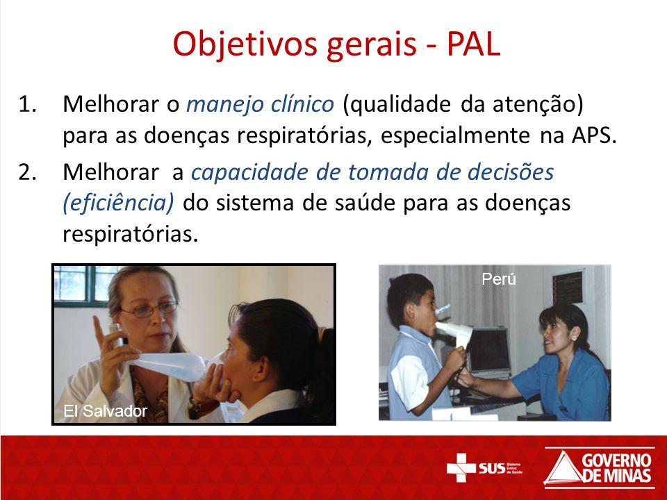 Objetivos gerais - PAL 1.Melhorar o manejo clínico (qualidade da atenção) para as doenças respiratórias, especialmente na APS. 2.Melhorar a capacidade