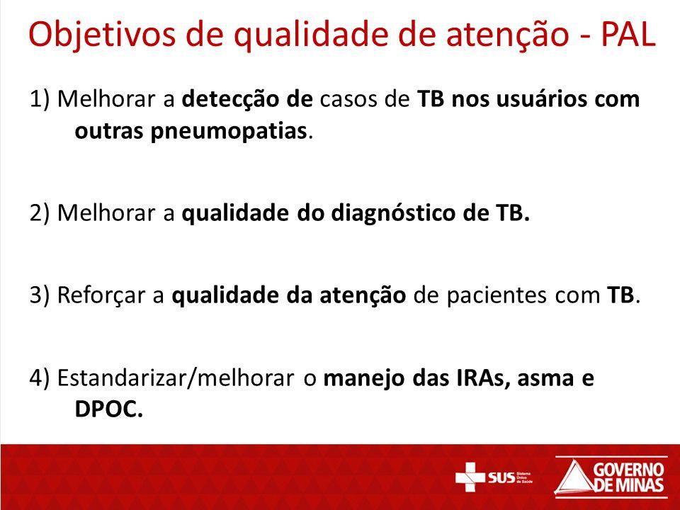 1) Melhorar a detecção de casos de TB nos usuários com outras pneumopatias. 2) Melhorar a qualidade do diagnóstico de TB. 3) Reforçar a qualidade da a