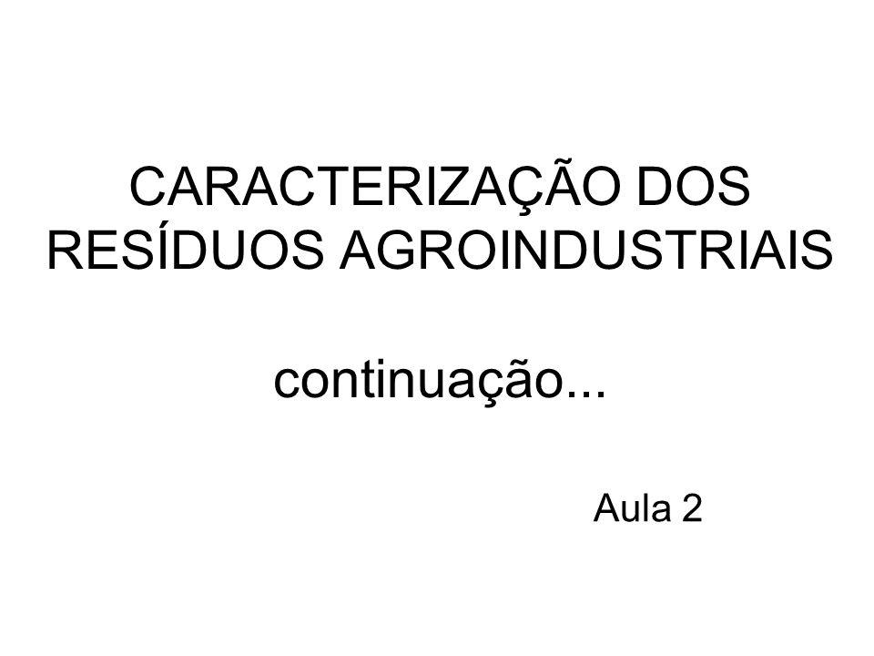 Aula 2 CARACTERIZAÇÃO DOS RESÍDUOS AGROINDUSTRIAIS continuação...