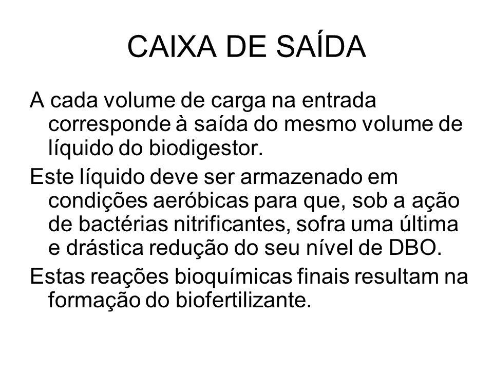 CAIXA DE SAÍDA A cada volume de carga na entrada corresponde à saída do mesmo volume de líquido do biodigestor.