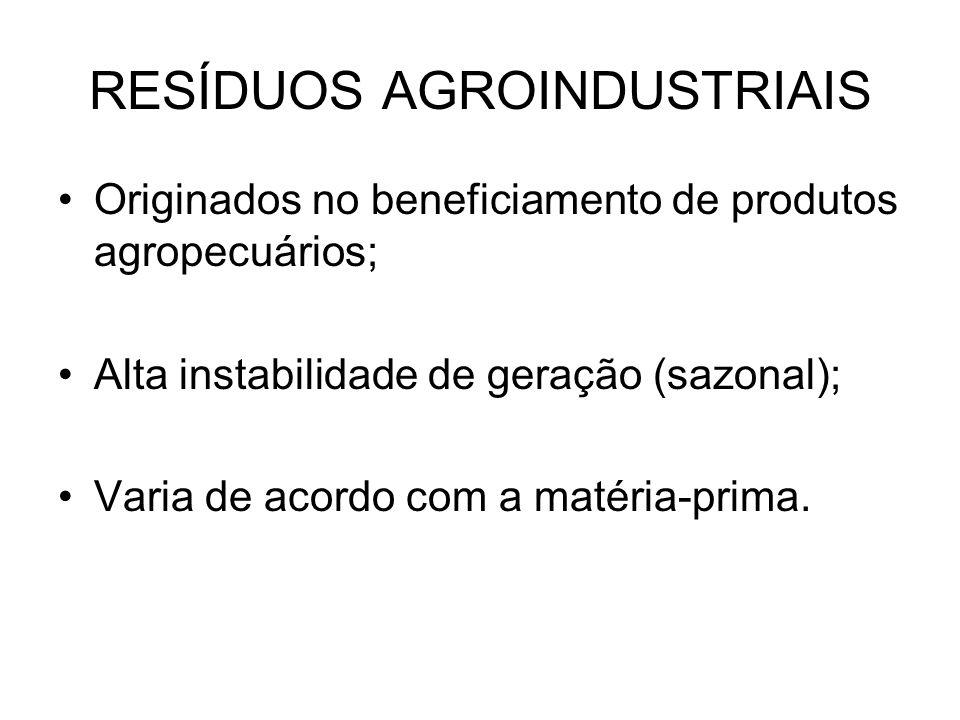 RESÍDUOS AGROINDUSTRIAIS Originados no beneficiamento de produtos agropecuários; Alta instabilidade de geração (sazonal); Varia de acordo com a matéria-prima.