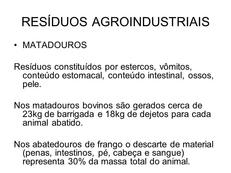 RESÍDUOS AGROINDUSTRIAIS MATADOUROS Resíduos constituídos por estercos, vômitos, conteúdo estomacal, conteúdo intestinal, ossos, pele.