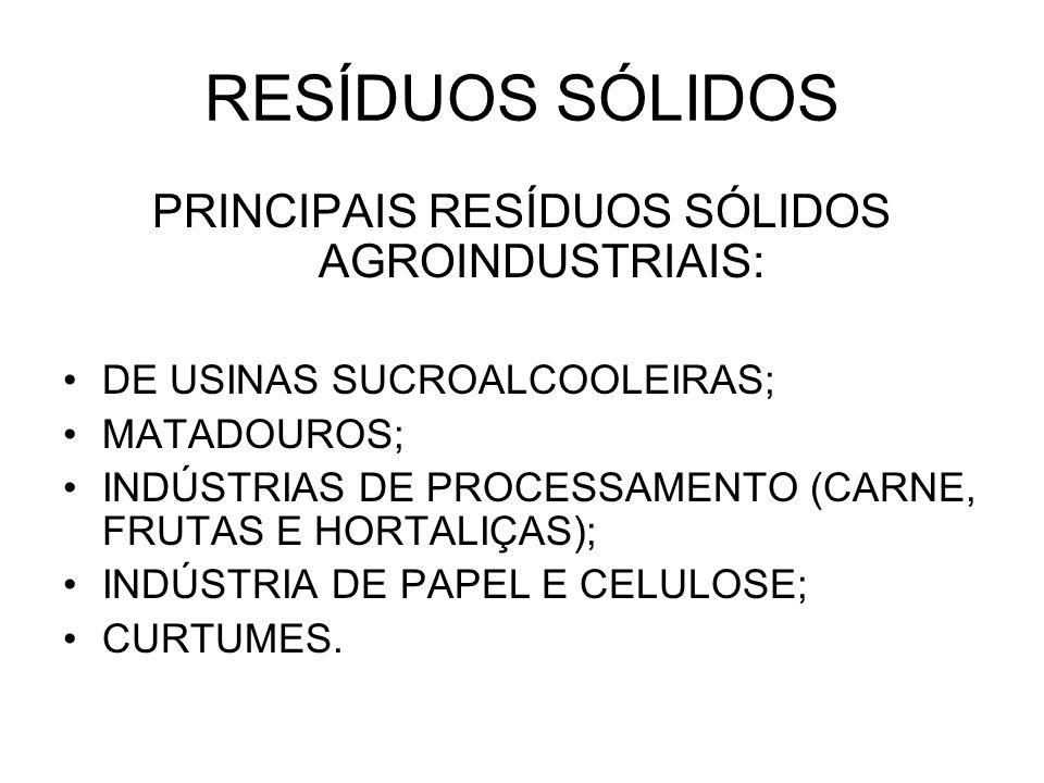 RESÍDUOS SÓLIDOS PRINCIPAIS RESÍDUOS SÓLIDOS AGROINDUSTRIAIS: DE USINAS SUCROALCOOLEIRAS; MATADOUROS; INDÚSTRIAS DE PROCESSAMENTO (CARNE, FRUTAS E HORTALIÇAS); INDÚSTRIA DE PAPEL E CELULOSE; CURTUMES.