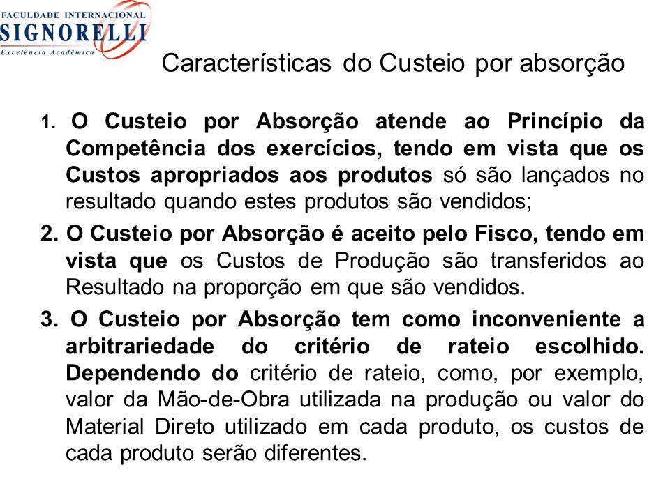 Características do Custeio por absorção 1.