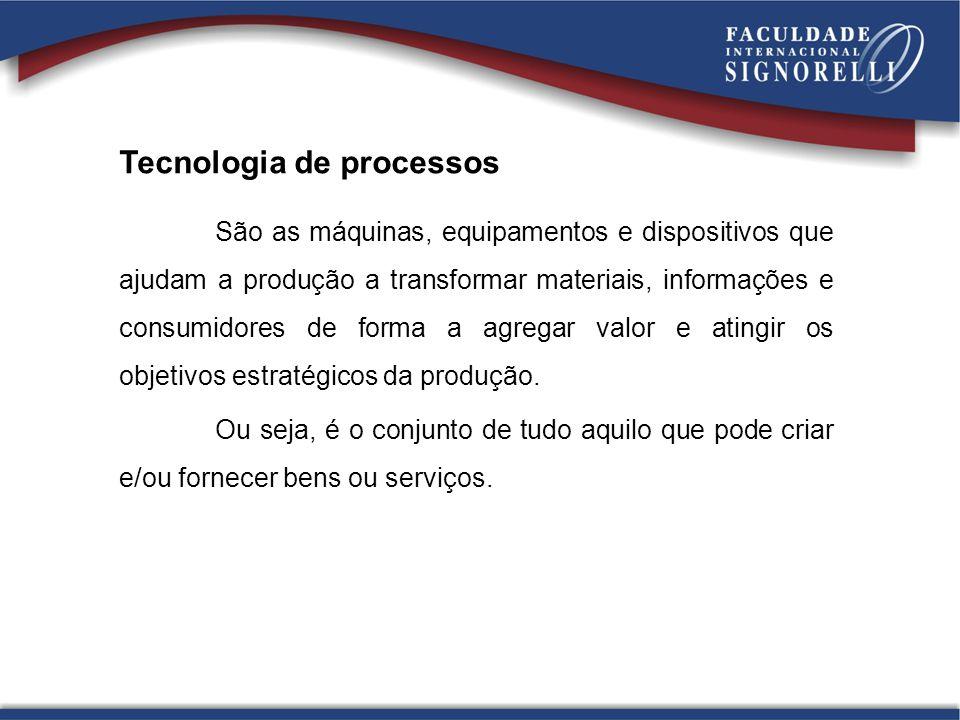 Tecnologia de processos São as máquinas, equipamentos e dispositivos que ajudam a produção a transformar materiais, informações e consumidores de form