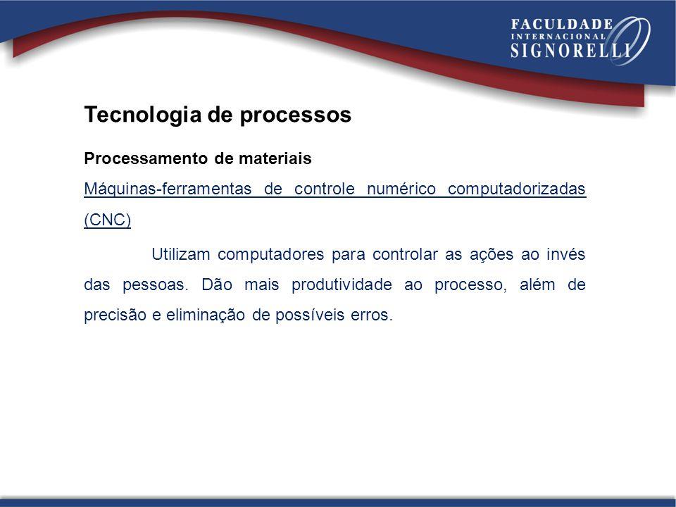 Tecnologia de processos Processamento de materiais Máquinas-ferramentas de controle numérico computadorizadas (CNC) Utilizam computadores para control