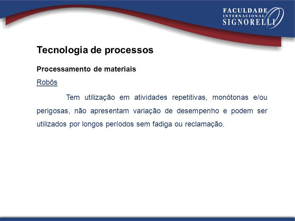 Tecnologia de processos Processamento de materiais Robôs Tem utilização em atividades repetitivas, monótonas e/ou perigosas, não apresentam variação d