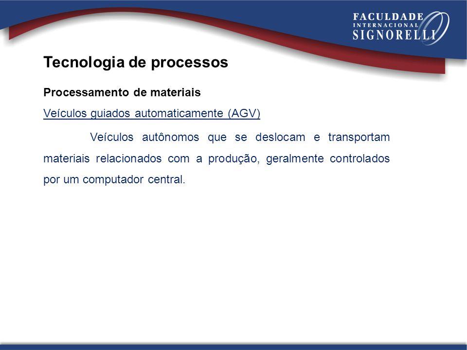 Tecnologia de processos Processamento de materiais Veículos guiados automaticamente (AGV) Veículos autônomos que se deslocam e transportam materiais r