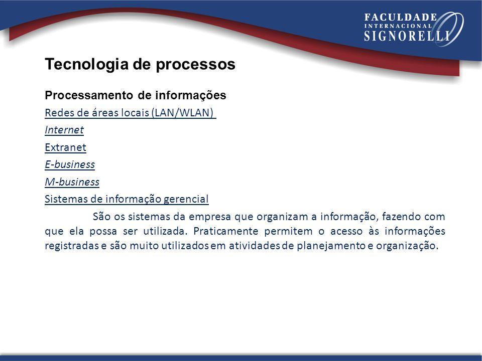 Tecnologia de processos Processamento de informações Redes de áreas locais (LAN/WLAN) Internet Extranet E-business M-business Sistemas de informação g