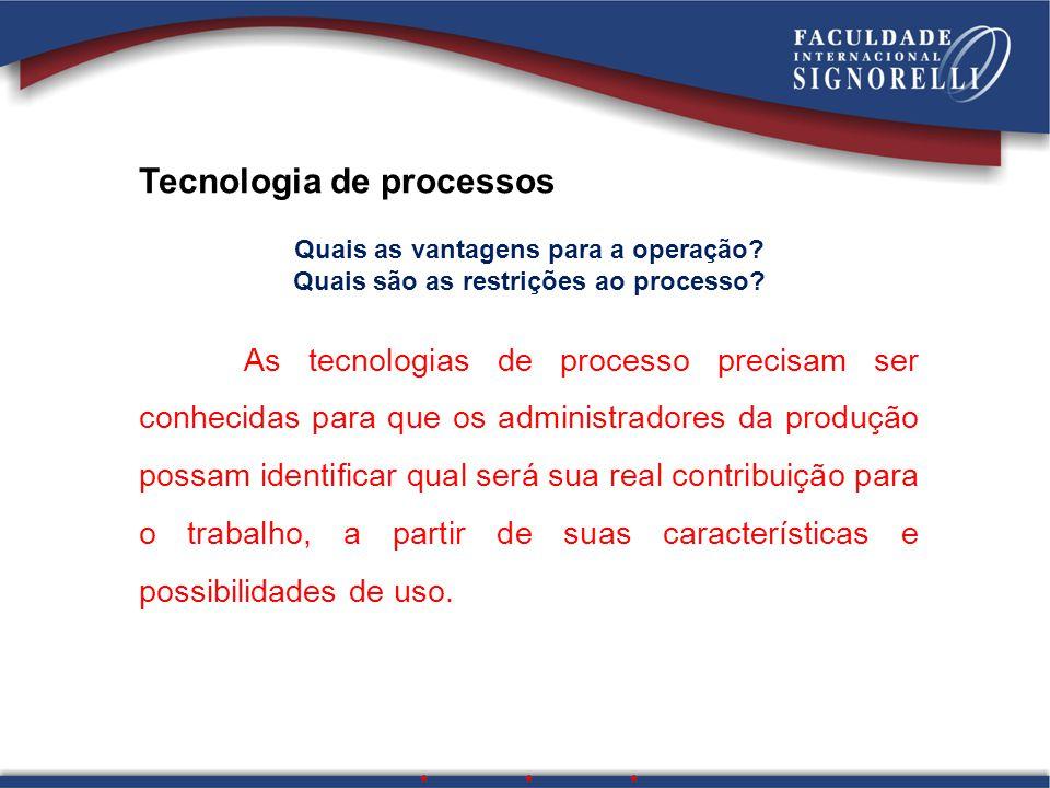 Tecnologia de processos Quais as vantagens para a operação? Quais são as restrições ao processo? As tecnologias de processo precisam ser conhecidas pa