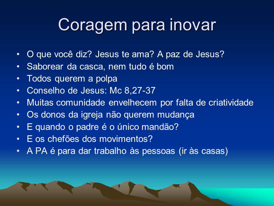 Coragem para inovar O que você diz? Jesus te ama? A paz de Jesus? Saborear da casca, nem tudo é bom Todos querem a polpa Conselho de Jesus: Mc 8,27-37