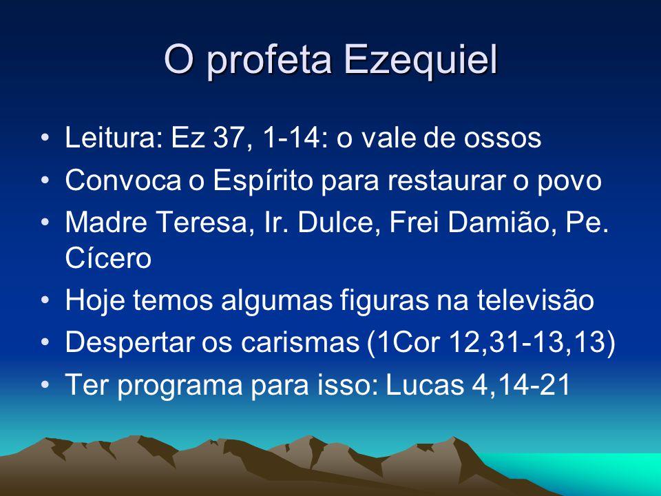 O profeta Ezequiel Leitura: Ez 37, 1-14: o vale de ossos Convoca o Espírito para restaurar o povo Madre Teresa, Ir. Dulce, Frei Damião, Pe. Cícero Hoj