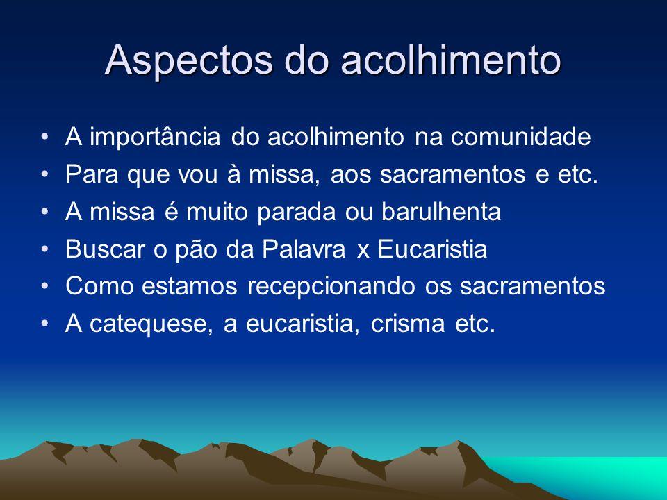 Aspectos do acolhimento A importância do acolhimento na comunidade Para que vou à missa, aos sacramentos e etc.
