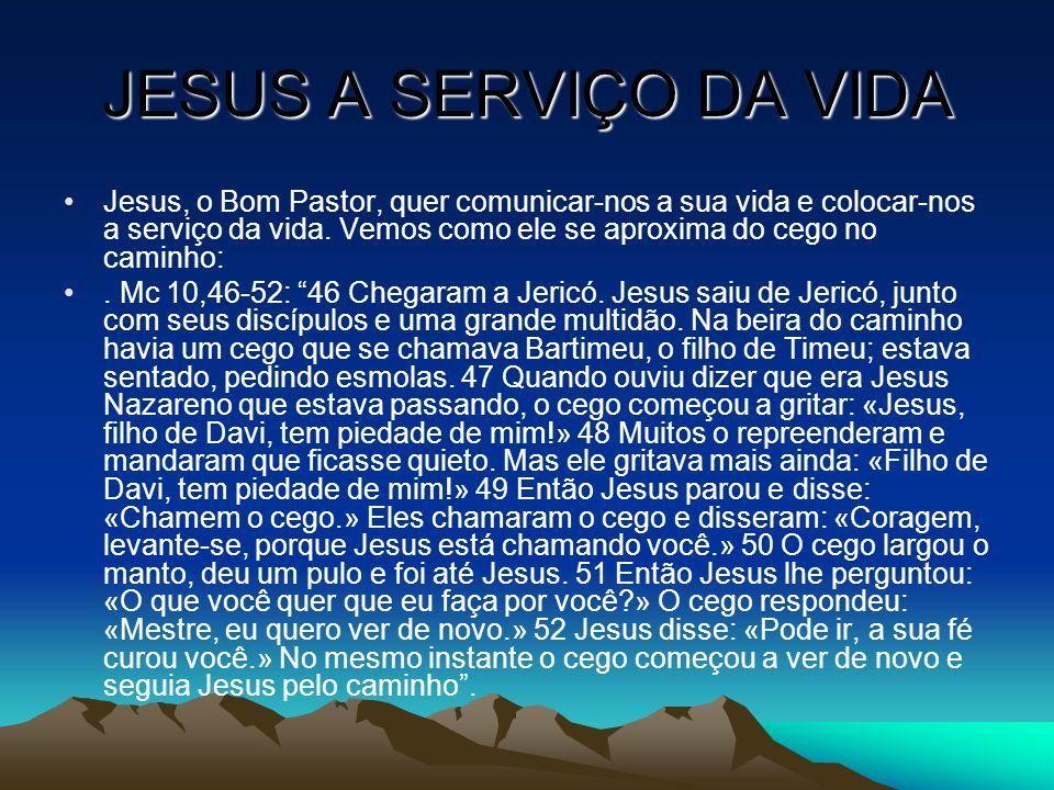 JESUS A SERVIÇO DA VIDA Jesus, o Bom Pastor, quer comunicar-nos a sua vida e colocar-nos a serviço da vida. Vemos como ele se aproxima do cego no cami