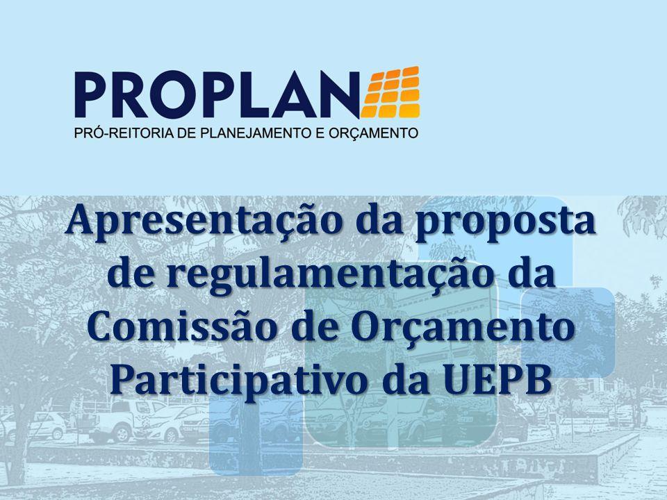 Apresentação da proposta de regulamentação da Comissão de Orçamento Participativo da UEPB