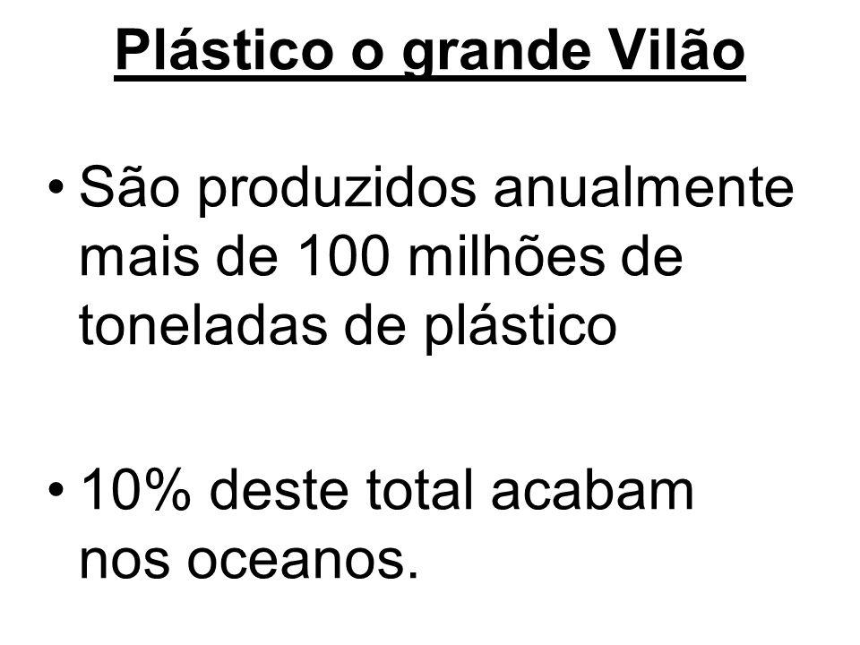 Plástico o grande Vilão São produzidos anualmente mais de 100 milhões de toneladas de plástico 10% deste total acabam nos oceanos.