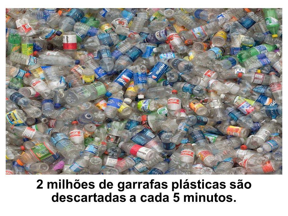 2 milhões de garrafas plásticas são descartadas a cada 5 minutos.