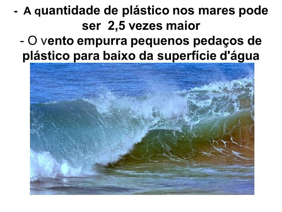 - A q uantidade de plástico nos mares pode ser 2,5 vezes maior - O vento empurra pequenos pedaços de plástico para baixo da superfície d'água