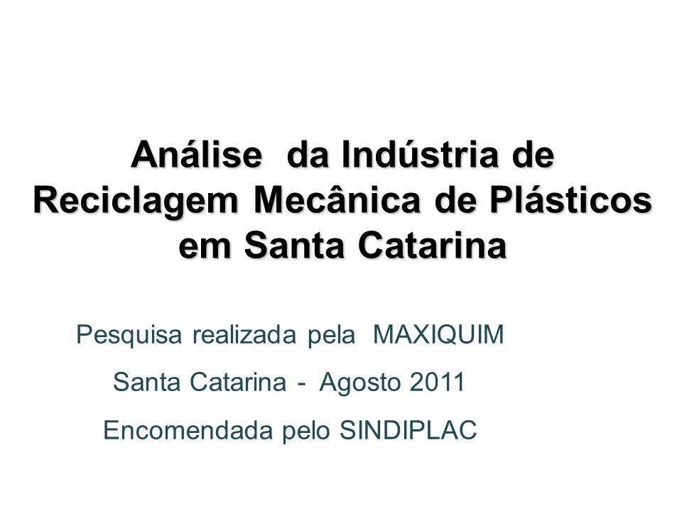Análise da Indústria de Reciclagem Mecânica de Plásticos em Santa Catarina Pesquisa realizada pela MAXIQUIM Santa Catarina - Agosto 2011 Encomendada p