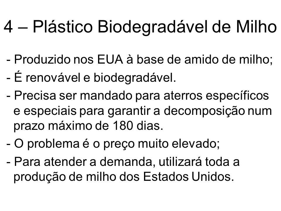 4 – Plástico Biodegradável de Milho - Produzido nos EUA à base de amido de milho; - É renovável e biodegradável. - Precisa ser mandado para aterros es