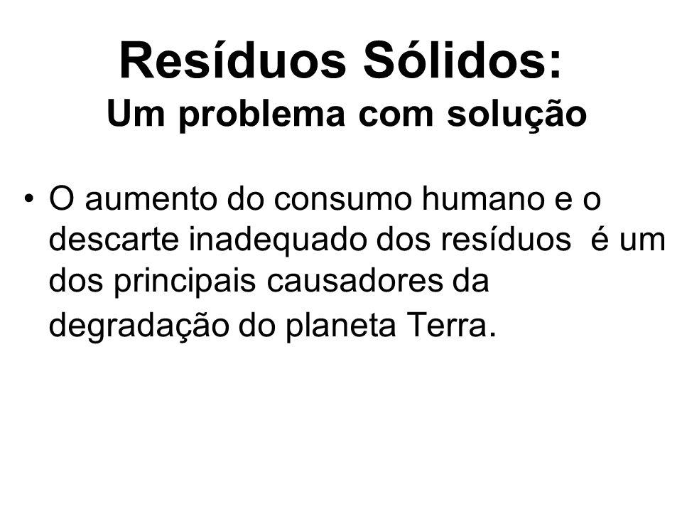 Resíduos Sólidos: Um problema com solução O aumento do consumo humano e o descarte inadequado dos resíduos é um dos principais causadores da degradaçã