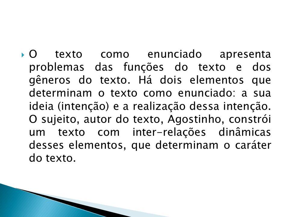  O texto como enunciado apresenta problemas das funções do texto e dos gêneros do texto. Há dois elementos que determinam o texto como enunciado: a s