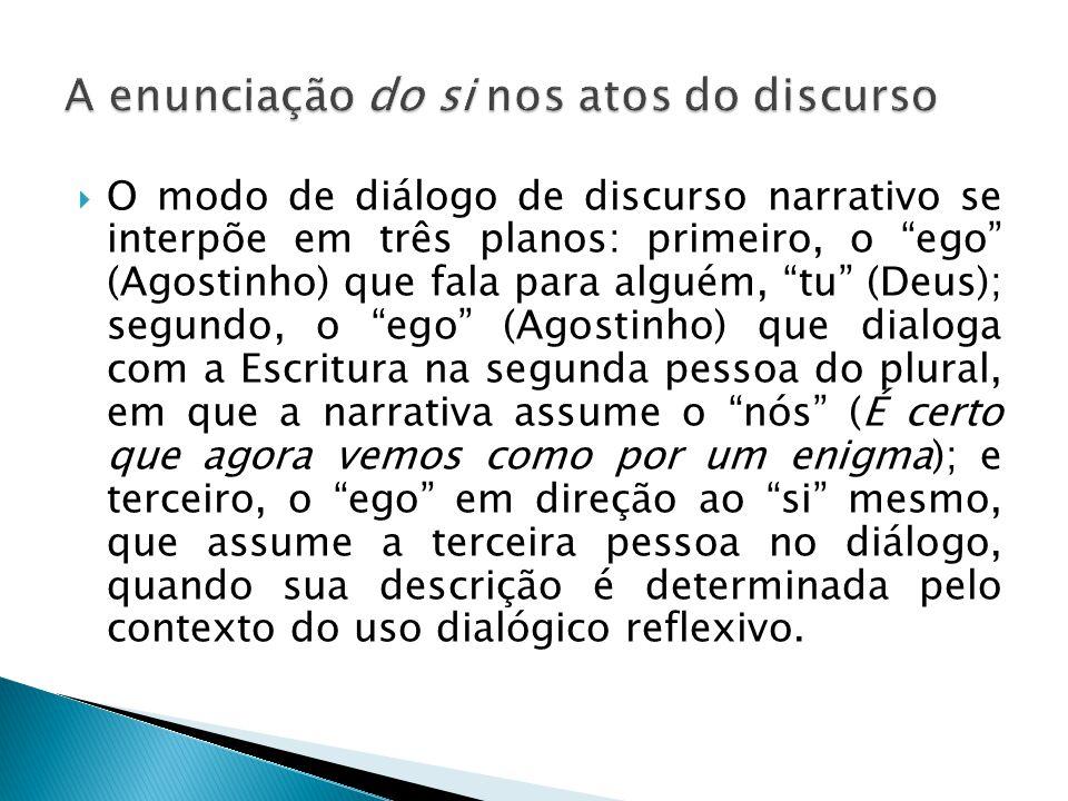""" O modo de diálogo de discurso narrativo se interpõe em três planos: primeiro, o """"ego"""" (Agostinho) que fala para alguém, """"tu"""" (Deus); segundo, o """"ego"""