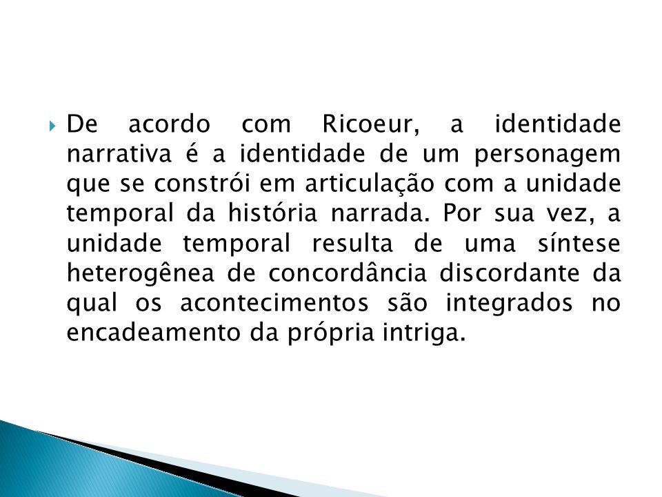  De acordo com Ricoeur, a identidade narrativa é a identidade de um personagem que se constrói em articulação com a unidade temporal da história narr