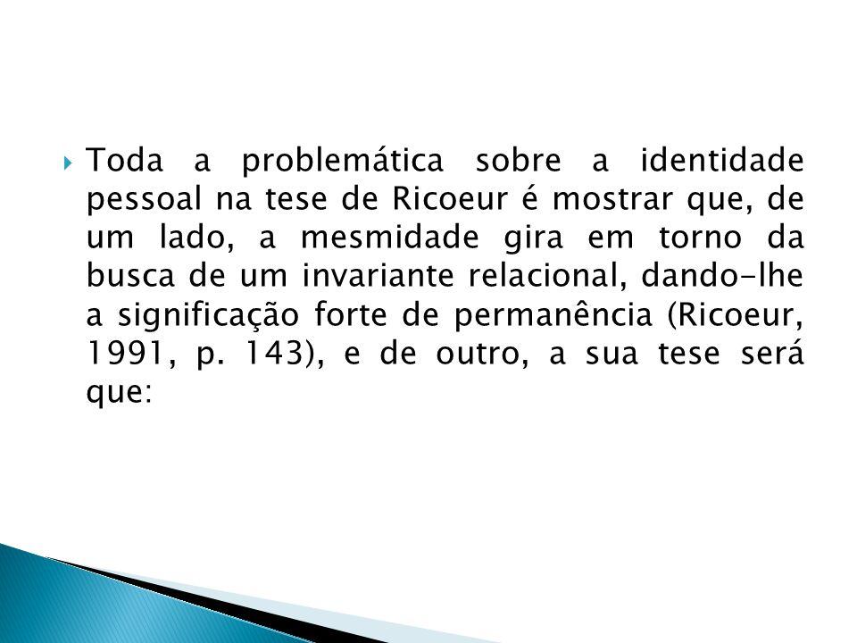  Toda a problemática sobre a identidade pessoal na tese de Ricoeur é mostrar que, de um lado, a mesmidade gira em torno da busca de um invariante rel
