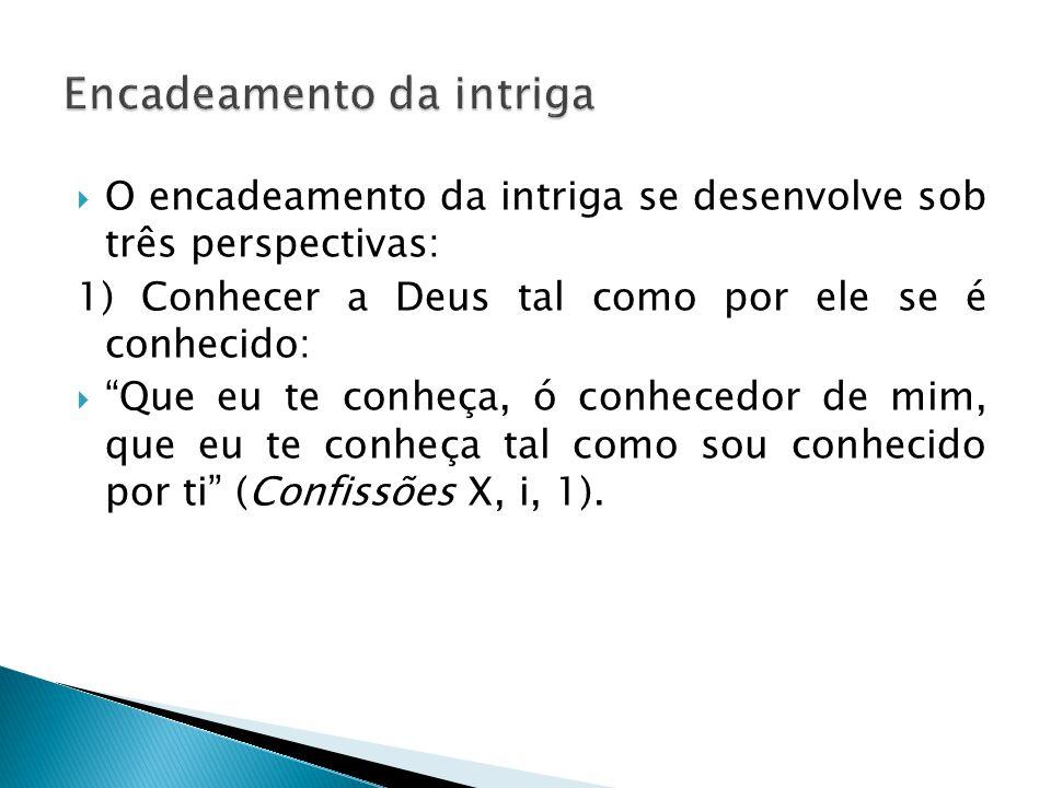 """ O encadeamento da intriga se desenvolve sob três perspectivas: 1) Conhecer a Deus tal como por ele se é conhecido:  """"Que eu te conheça, ó conhecedo"""