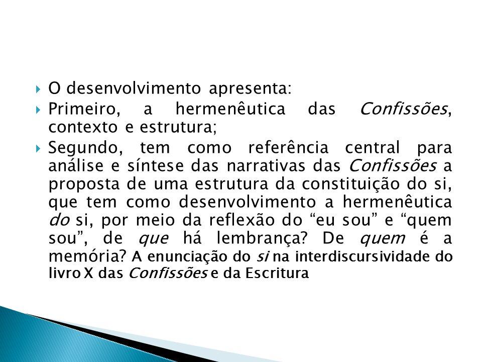  O desenvolvimento apresenta:  Primeiro, a hermenêutica das Confissões, contexto e estrutura;  Segundo, tem como referência central para análise e