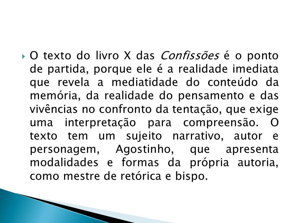  O texto do livro X das Confissões é o ponto de partida, porque ele é a realidade imediata que revela a mediatidade do conteúdo da memória, da realid