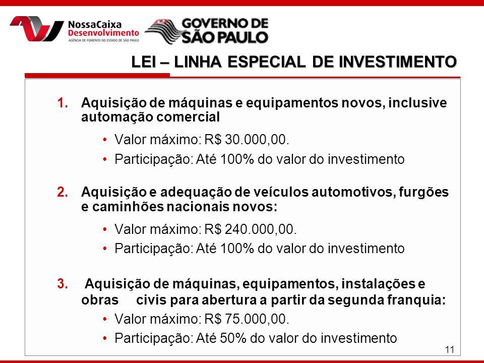 11 1.Aquisição de máquinas e equipamentos novos, inclusive automação comercial Valor máximo: R$ 30.000,00.
