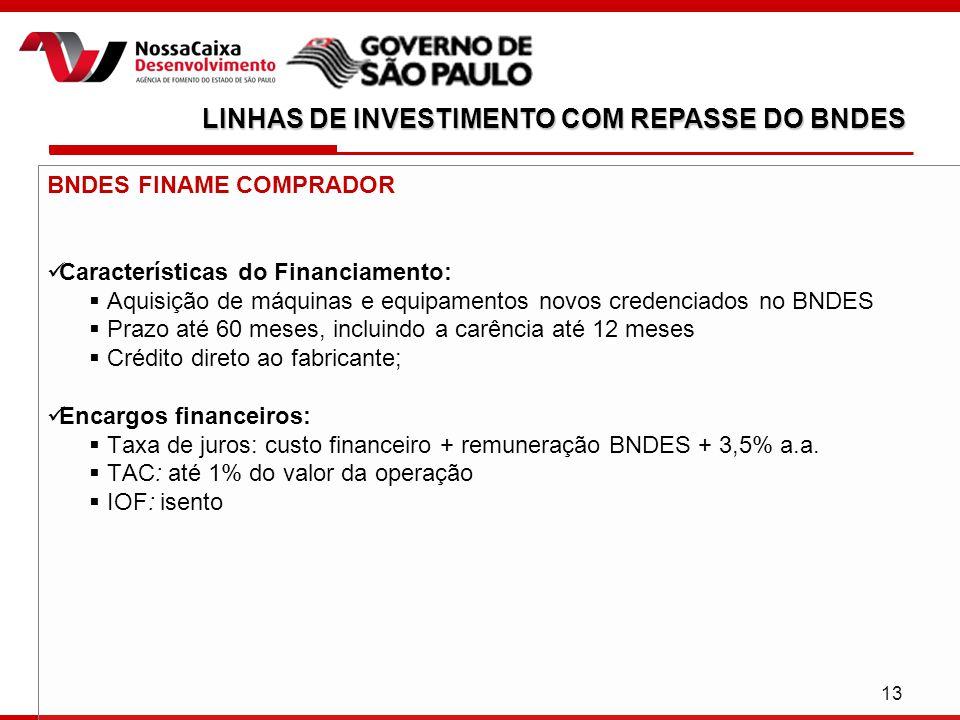 13 BNDES FINAME COMPRADOR Características do Financiamento:  Aquisição de máquinas e equipamentos novos credenciados no BNDES  Prazo até 60 meses, incluindo a carência até 12 meses  Crédito direto ao fabricante; Encargos financeiros:  Taxa de juros: custo financeiro + remuneração BNDES + 3,5% a.a.