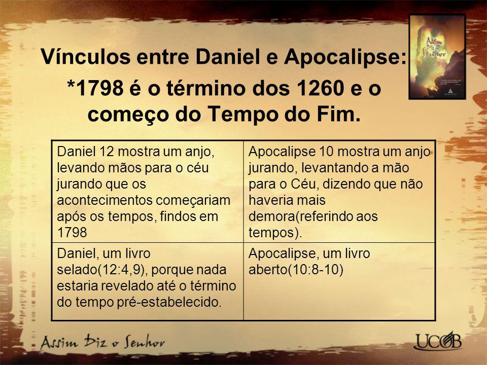 Vínculos entre Daniel e Apocalipse: *1798 é o término dos 1260 e o começo do Tempo do Fim. Daniel 12 mostra um anjo, levando mãos para o céu jurando q